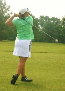 Leighann Albaugh hitting a golf shot